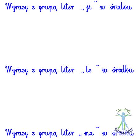 Słówka mające grupę liter w środku