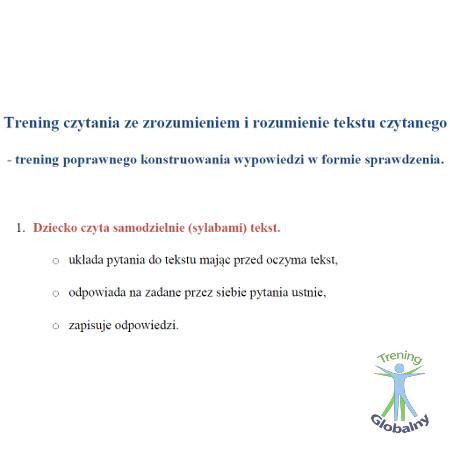 Trening czytania ze zrozumieniem i rozumienie tekstu czytanego