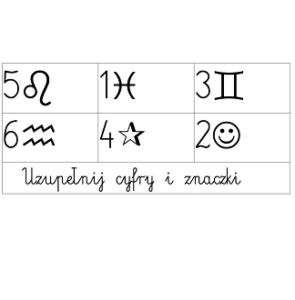 Uzupełnij znaczki i cyfry